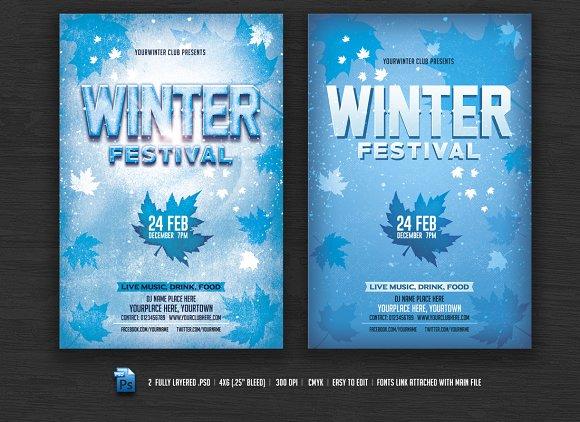 winter festival flyer flyer templates creative market