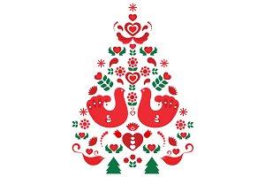 Vector Scandinavian Christmas Tree