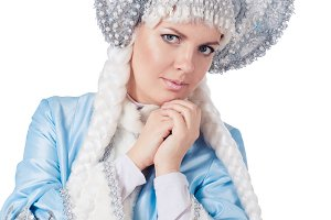 smiling snow maiden isolated on a white