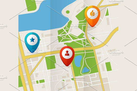 City Map with GPS Icons. Vector - Illustrations