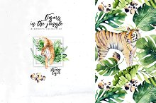 Watercolor tropical tigers