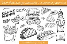 Fast food elements+seamless patterns