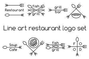 Line art restaurant logo set