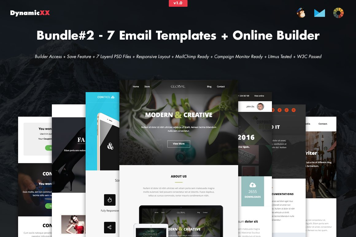 Bundle#2 - 7 Email Templates+Builder ~ Email Templates ~ Creative Market