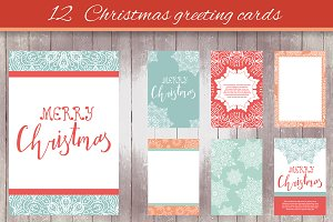 12 Christmas greeting cards - 1