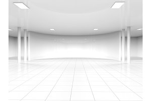 White empty showroom space
