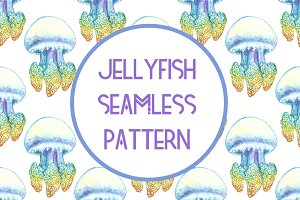Jellyfish seamless pattern