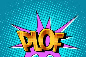 plof comic bubble retro text