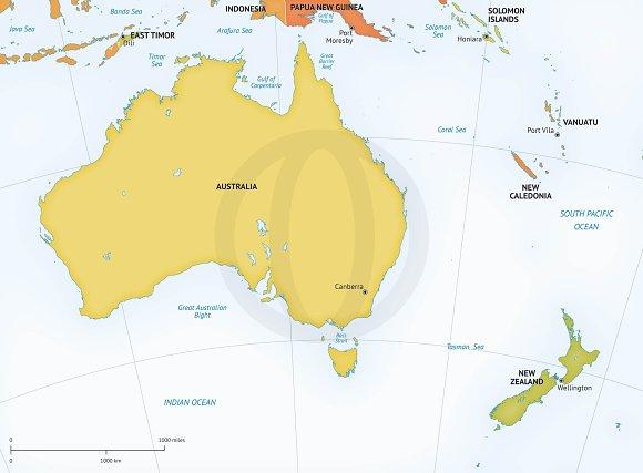 Map of australia new zealand graphics creative market gumiabroncs Choice Image