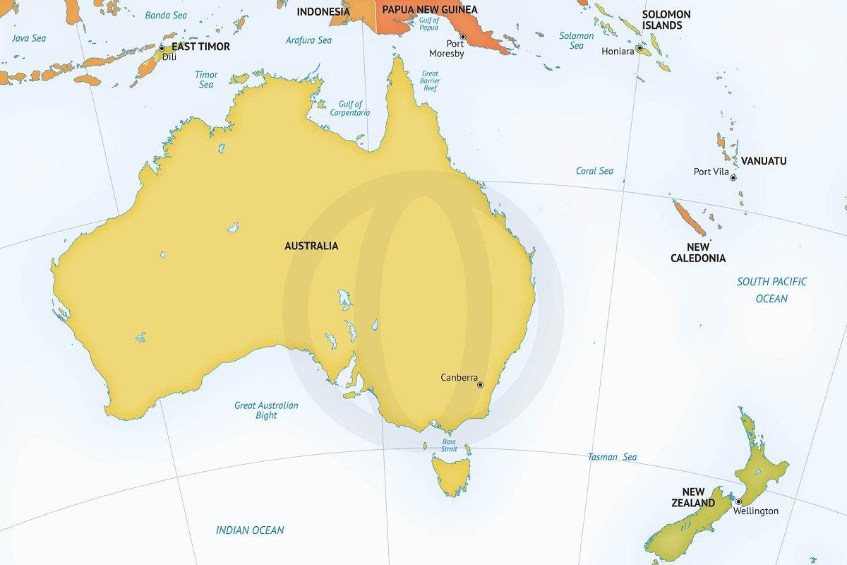Australia Map Zoom.Map Of Australia New Zealand Graphics Creative Market
