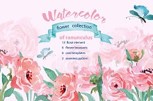 Watercolor flower collection of ranu