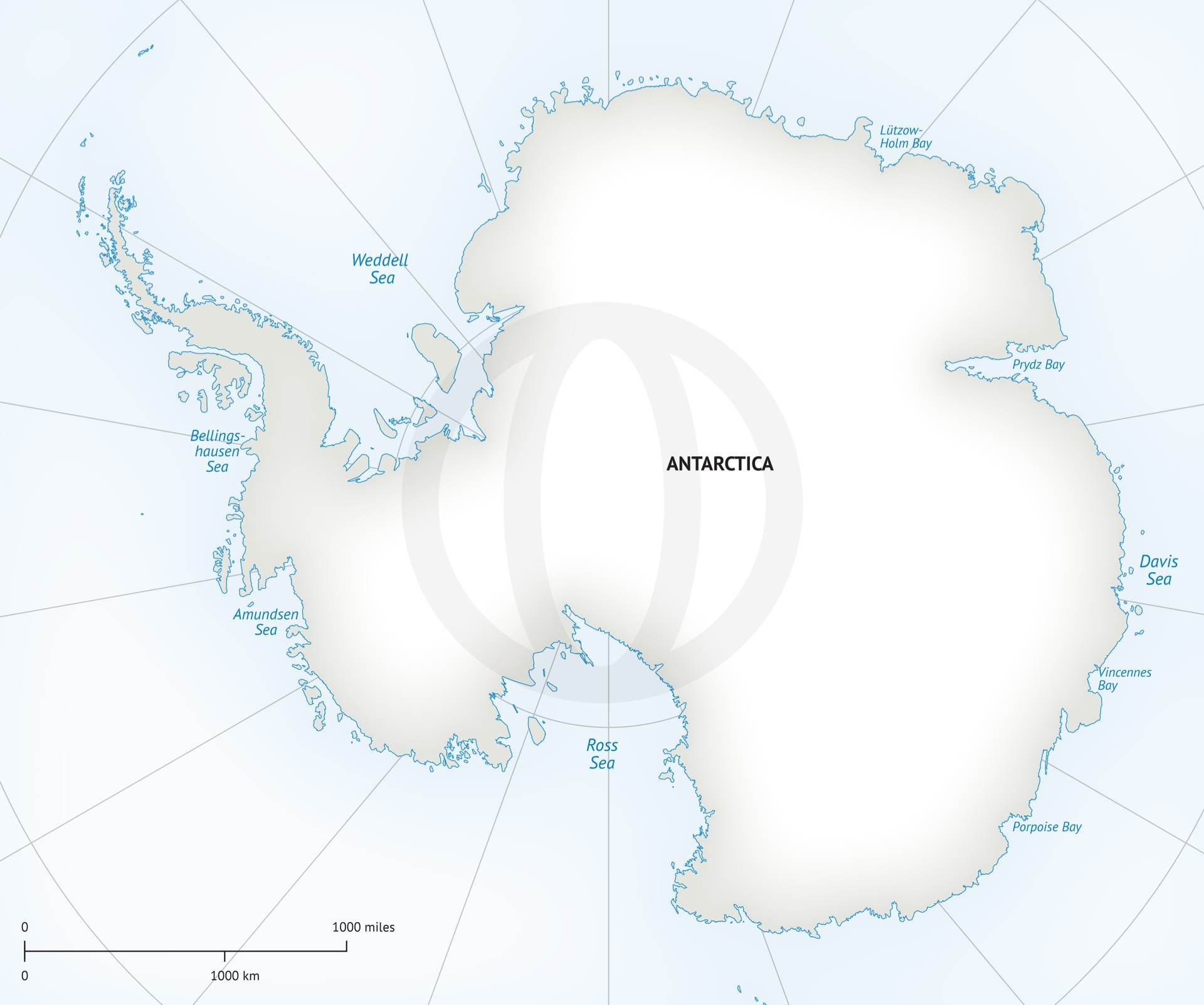 Vector Map Of Continent Antarctica Graphics Creative Market - Antarctica political map