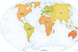Vector map of world continents