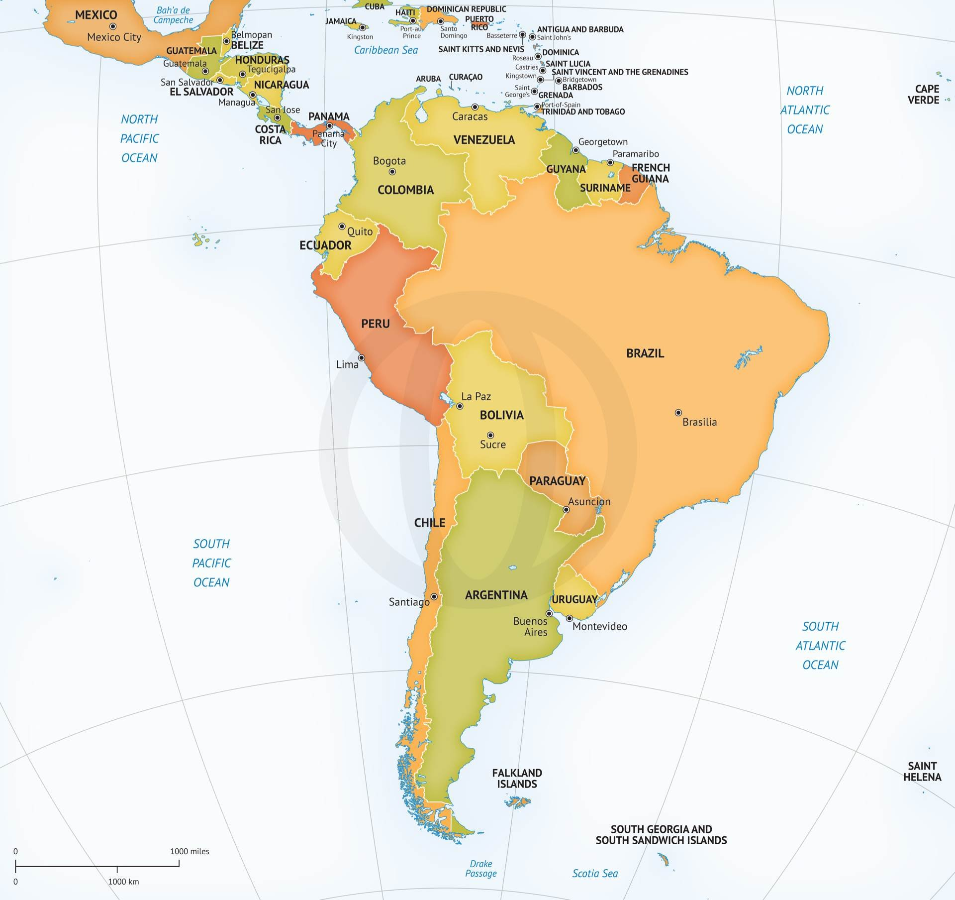 Vector map continent South America ~ Graphics ~ Creative Market