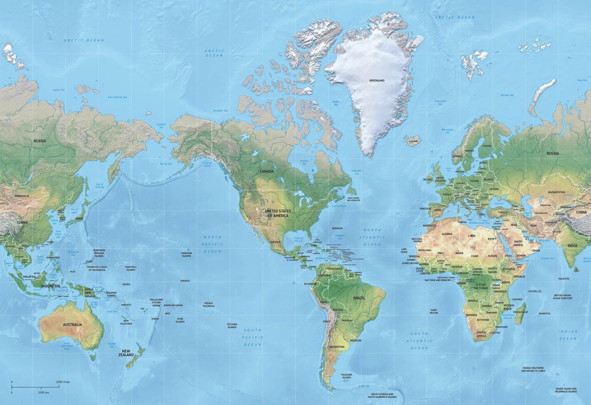 Vector Map Of World Relief Mercator Graphics Creative