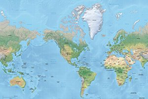 Vector map of world relief mercator