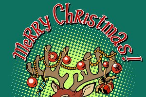 Deer Santa Claus merry Christmas