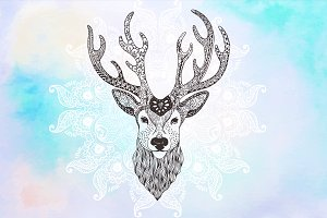Deer Zentangle Inspired