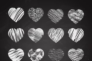 Hand drawn hearts on chalkboard