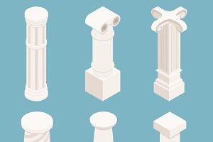 Vector 3d isometric columns