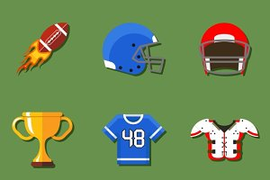 American football flat icons set