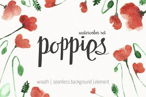 Poppies watercolor wreath & elements