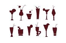 Cocktail glasses monochrome set