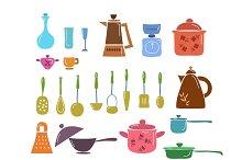 Hand draw kitchenware set