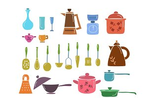 Hand draw kitchenware set