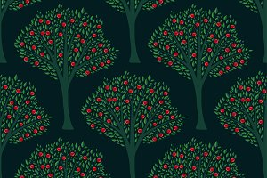 Seamless cherry trees pattern
