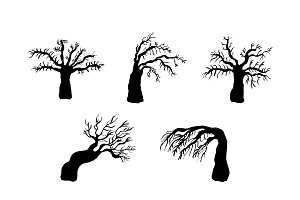Dry trees silhouettes set