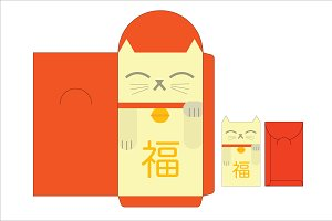 lucky cat red packet/angpow template