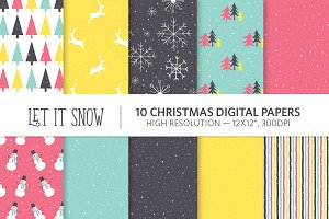 Let It Snow Christmas Digital Papers