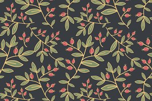 Seamless pattern with berry branches