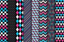 Geometric seamless color patterns.