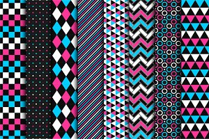 Geometric seamless color patterns.