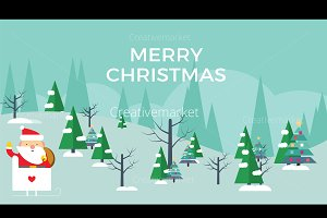 Merry Christmas Flat Vector Banner