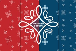 Set of snowflakes patterns