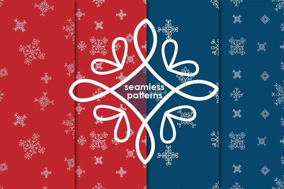 Set of snowflakes patterns