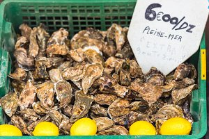 Oysters market in Cancale, Brittany