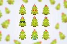 Cute smile Christmas tree. Set 1