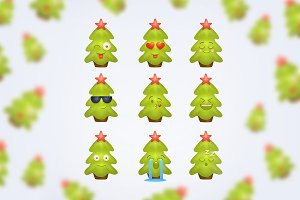 Cute smile Christmas tree. Set 1