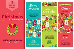 Christmas Vertical Vector Flyers