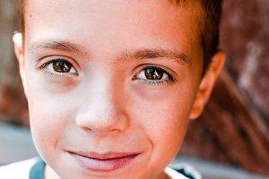 School-age Boy with Brown Eyes