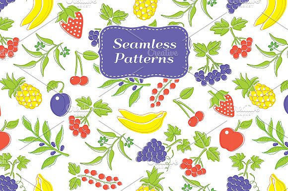 SET / Cute vector Berries and Fruits