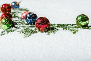 Group of Christmas balls in the snow
