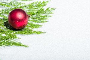 Red Christmas Ball on Cedar