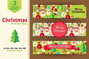 Christmas Horizontal Vector Flyers