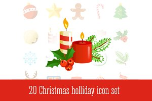 20 Christmas holiday vector icons