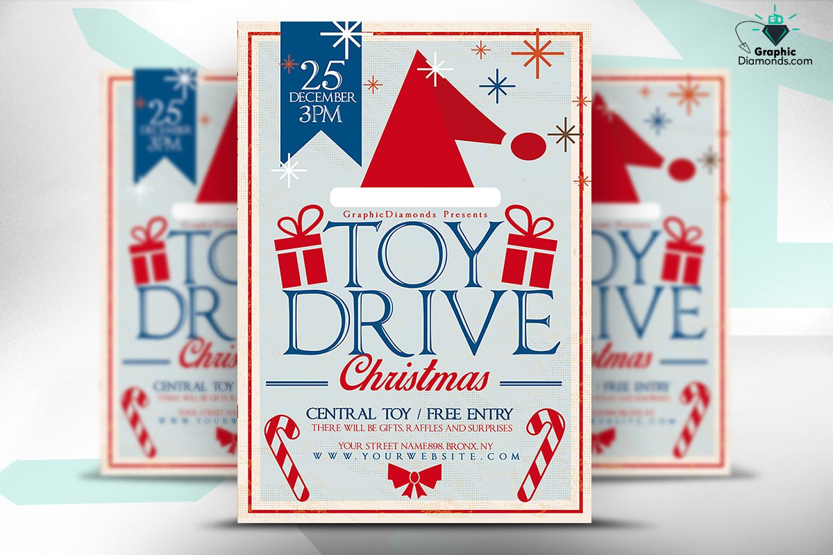 Toys For Tots Font : Toy drive christmas flyer templates creative market